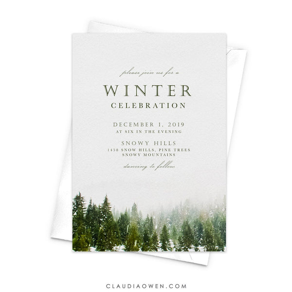 Winter Party Invitation, Winter Soiree Snow Pine Trees, Winter Themed Birthday Celebration, Winter Wedding Wonderland Woods Forest