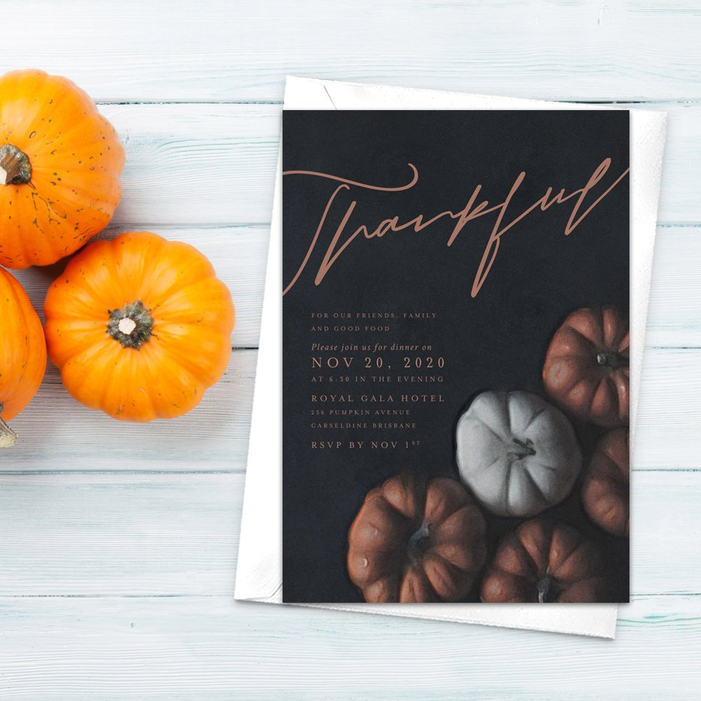 Thankful Pumpkin Party Invitation, Thanksgiving Dinner, Fall Colors, Fall Celebration, Autumn Colors, Fall Dinner, Orange