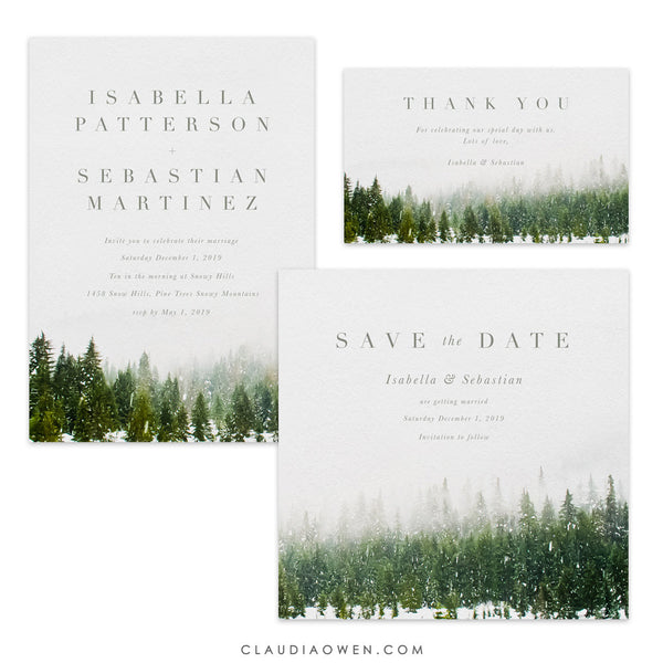 Winter Wedding Suite, Woodland Forest Wedding Matching Set, Nature Mountain Wedding, Pine Tree Outdoor Country Invitation