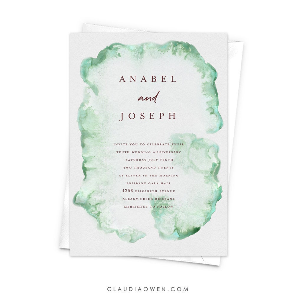 Wedding Anniversary Party Invitation, Parents Anniversary Elegant Invites Rehearsal Dinner Bridal Shower Brunch, Soft Watercolor Wash