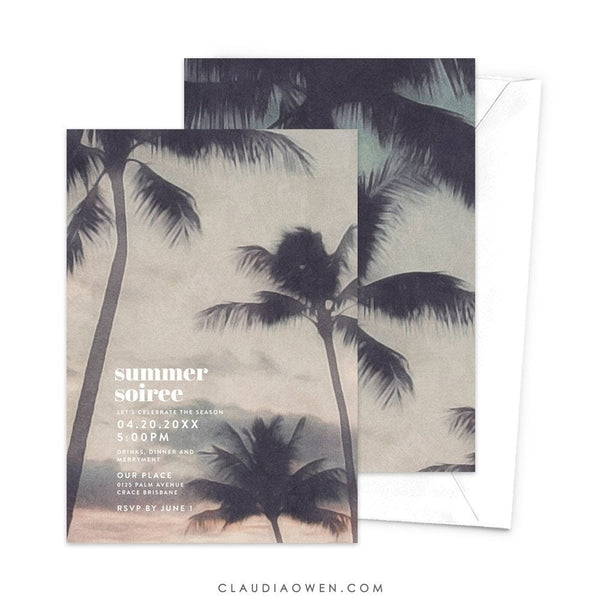 Tropical Birthday Party invitation Hawaiian Aloha Summer Invitation, Custom Soiree Party Invitation, Luau Palm Trees Invitation