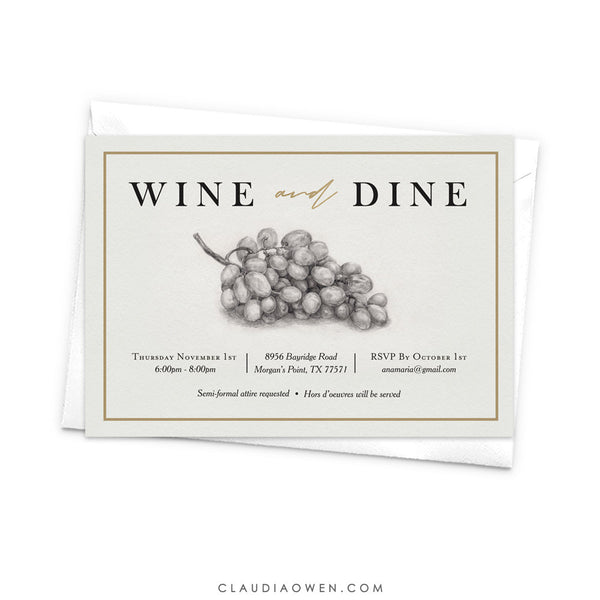Wine and Dine birthday Party Invitation, Wine Bridal Shower Wine Bachelorette, Wine Themed Winery Bridal Shower, Wine Tasting Party