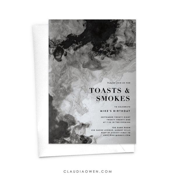 Toasts and Smokes Invitation, Gentlemen's Night, Bachelor Party, Men's Invitation, Smokey Texture, Toasts and Cigars, Smoke Ink, Masculine