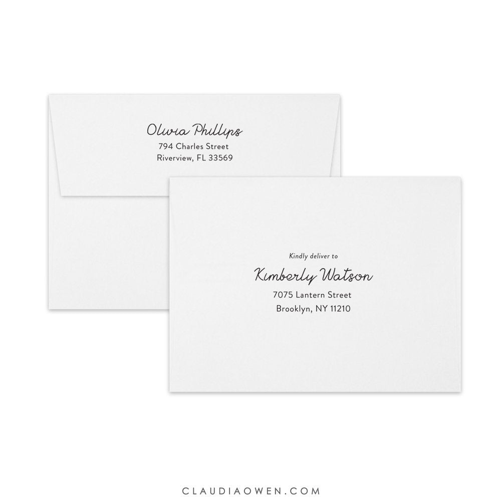 Guest Address Printing and Return Address Printed on Your Envelopes, Personalized Envelopes