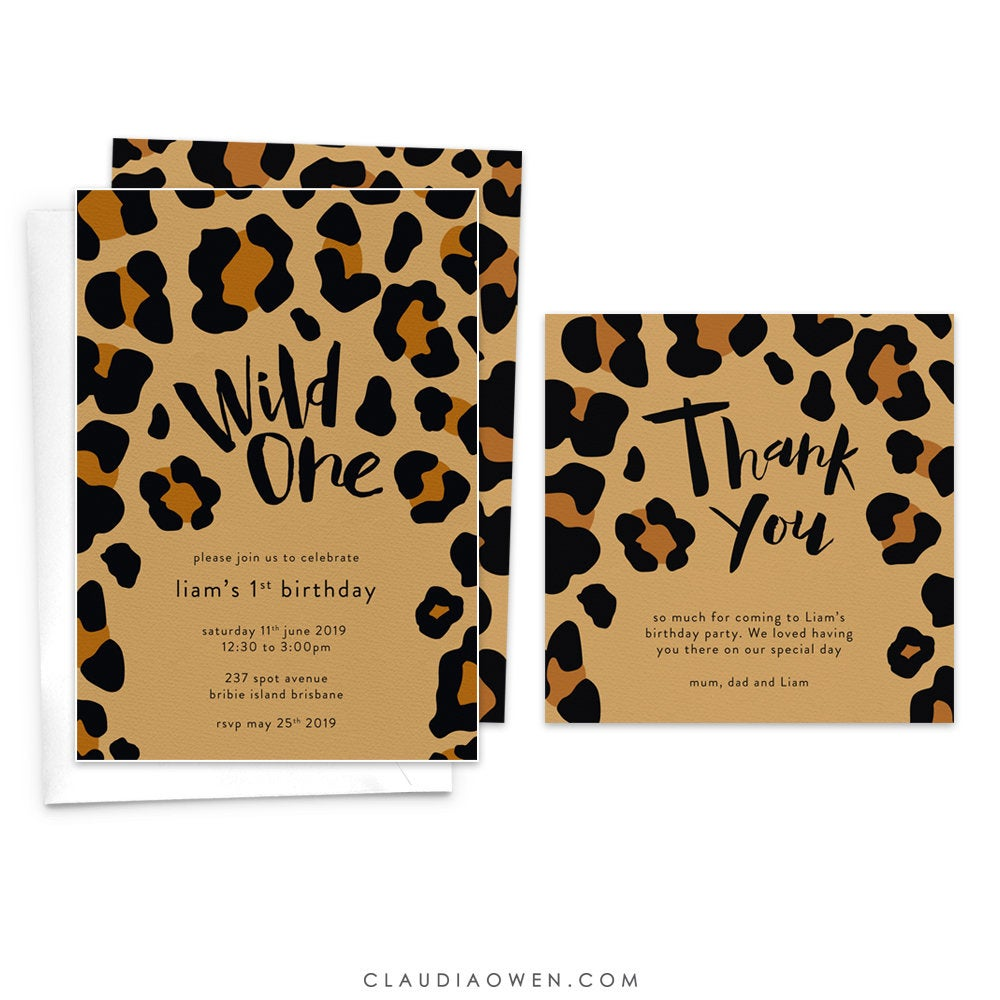 Wild One Birthday Party Invitation With Matching Thank You Note, Baby's 1st First Birthday Leopard Print, Jungle Birthday Wild Party