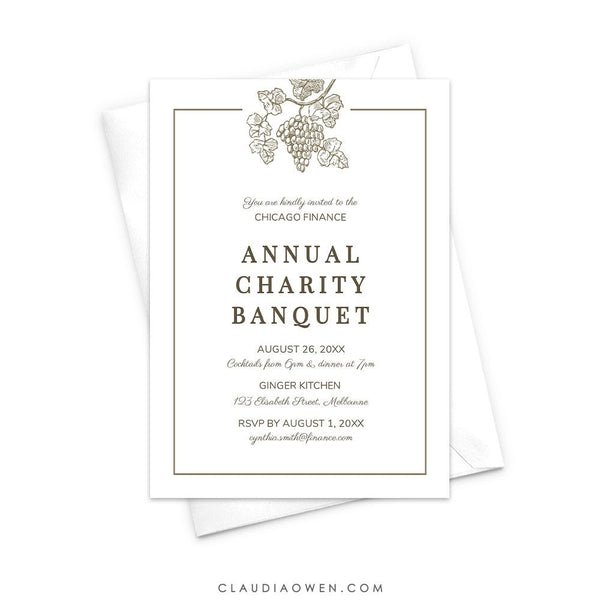 Wine Invitation Edit Yourself Template, Winery Business Banquet Invites Digital Download, Grape Vine, Wine and Dine, Wine Tasting