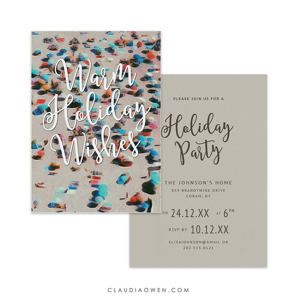 Warm Holiday Wishes Party Invitation Edit Yourself Template, Aussie Christmas Invites Digital Download, Australian Beach Summer