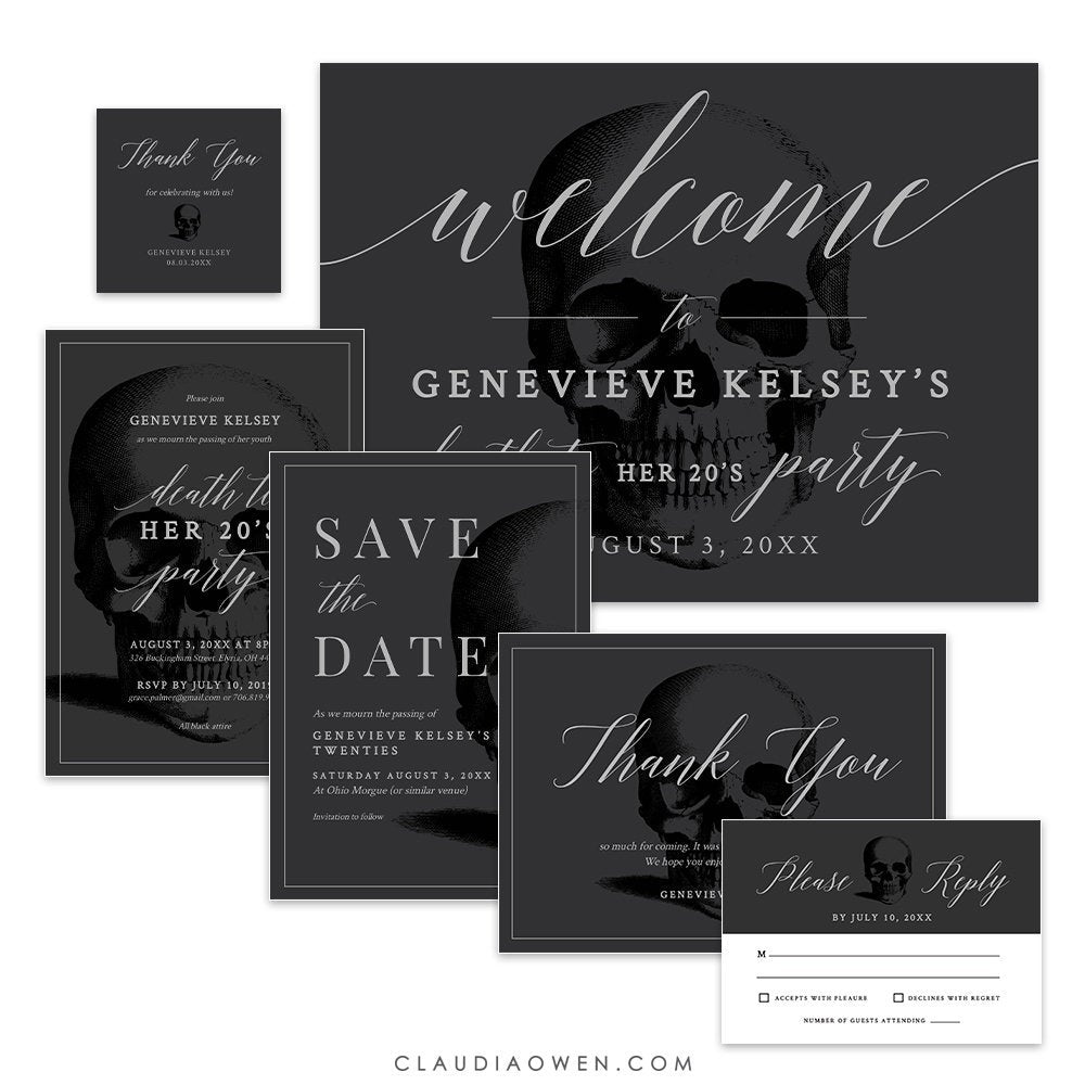 Death to Your 20's Party Invitation Matching Set Edit Yourself Template, RIP 20's Death Party Save the Date RSVP Digital Download