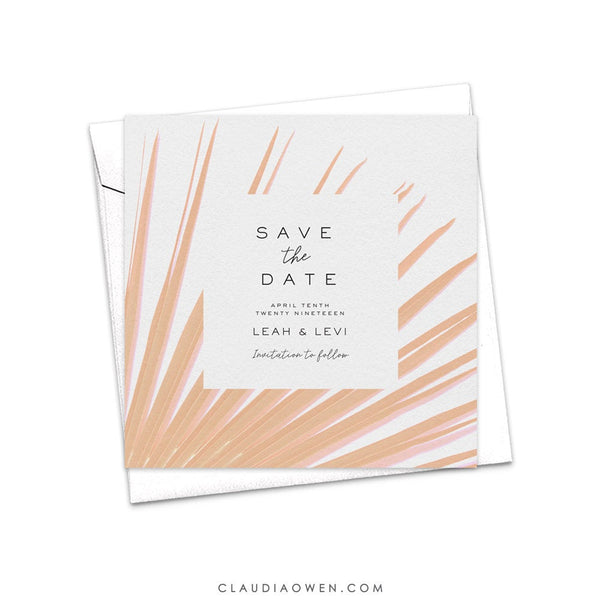 Tropical Green Ferns Save the Date Card, Destination Wedding, Hawaiian Palm Leaves, Botanical Greenery, Palm Fronds
