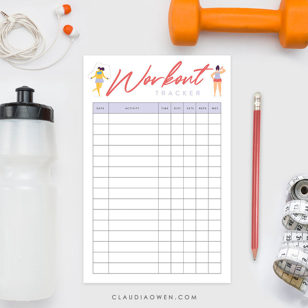 Workout Tracker Notepad Planner, Exercise Notepad, Exercise Stationery Personalized Fitness Tracker, Gym Workout Wellness Planner