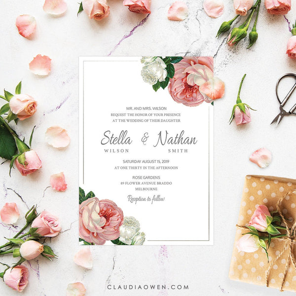 Vintage Rose Party Invitation Edit Yourself Template, Wedding Printable Digital Download, Wedding Anniversary Pink Rose Flowers Floral