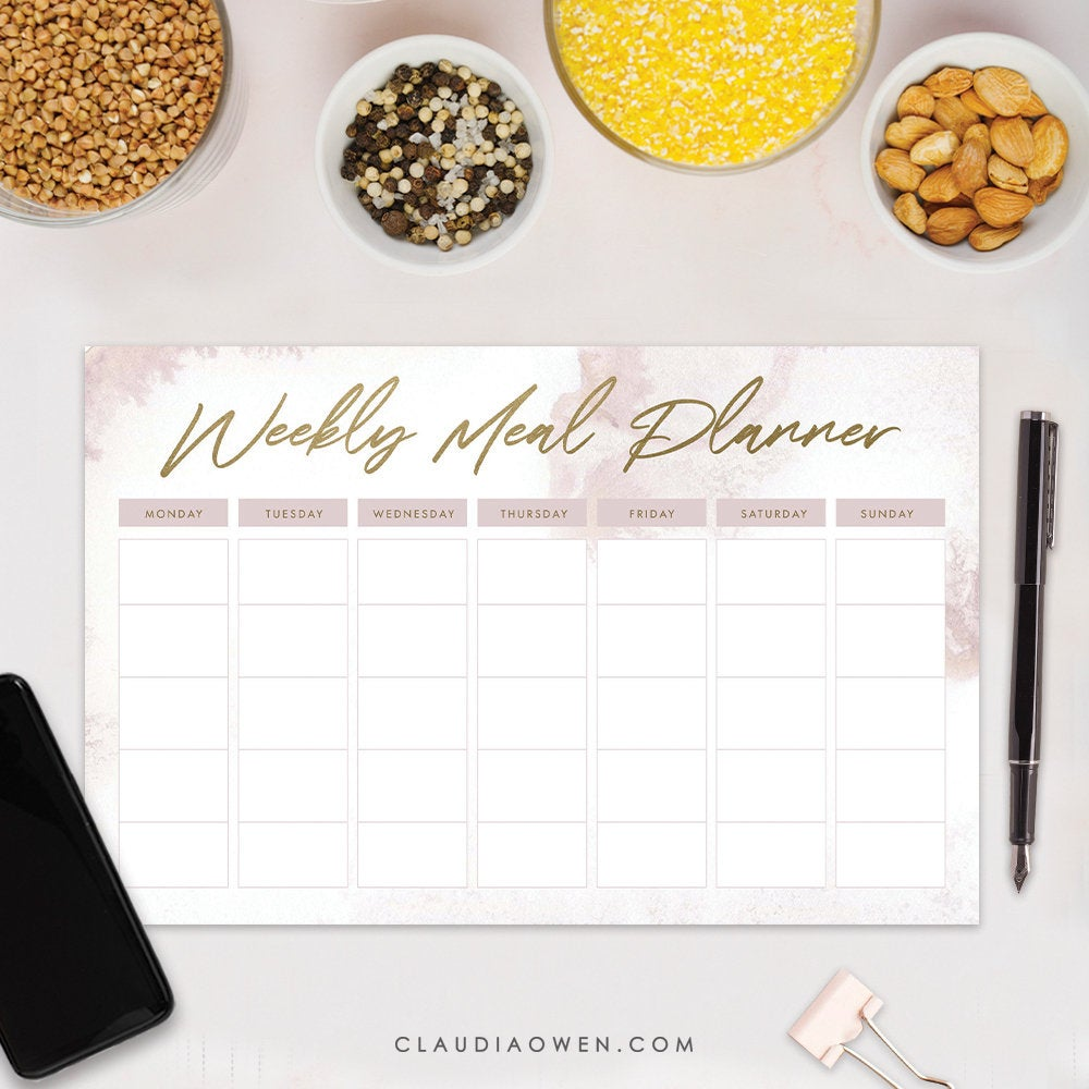 Weekly Meal Planner Notepad Personalized Gift for Her, Meal Planning Menu Planner Pad, Meal Prep Food Kitchen Notepad Gift Cooking Plan