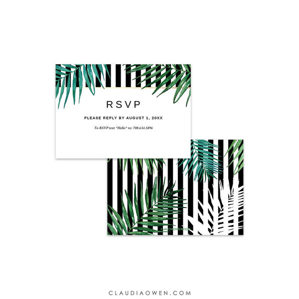 Tropical RSVP Card Template Edit Yourself Digital Download Palm Leaves Printable Response Card, Wedding RSVP Insert Reply Card