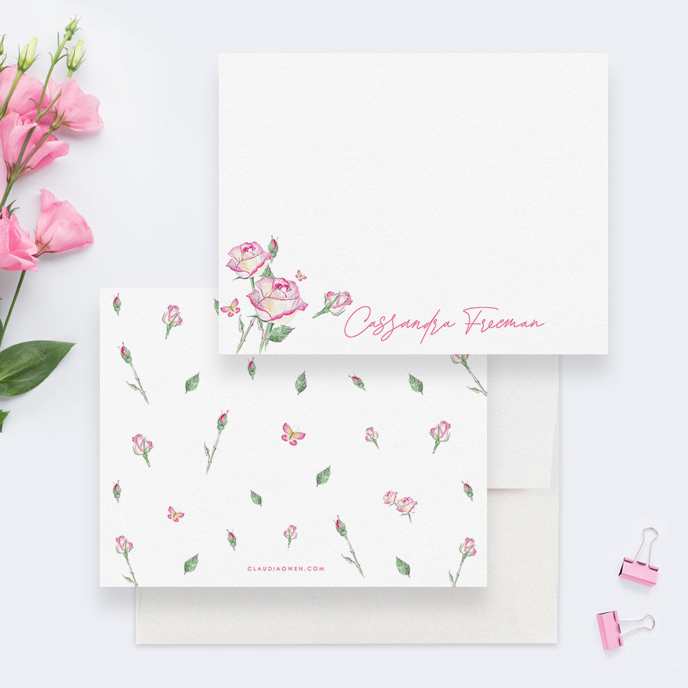Pink Rose Stationery Thank You Card Floral Note Card, Gift For Her Flower Note Card Home Stationery, Womens Flower Stationery