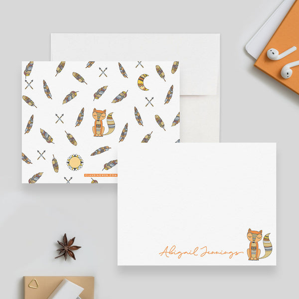 Fox Woodland Animal Stationery Cute Fox Gift, Whimsical Fox Stationary Card Set, Boho Thank You Note Kids Stationery Fox Flat Note Cards