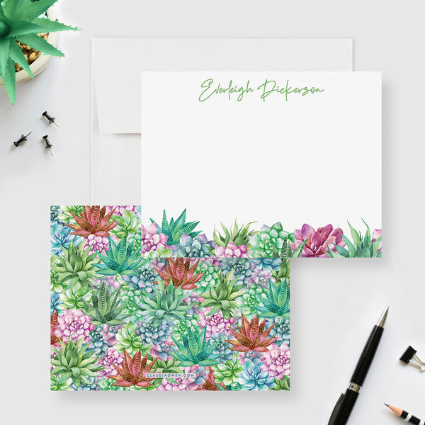 Cactus Note Card Succulent Novelty Stationery Set With Envelopes, Succulent Thank You Note Watercolor Cactus Cacti Gift
