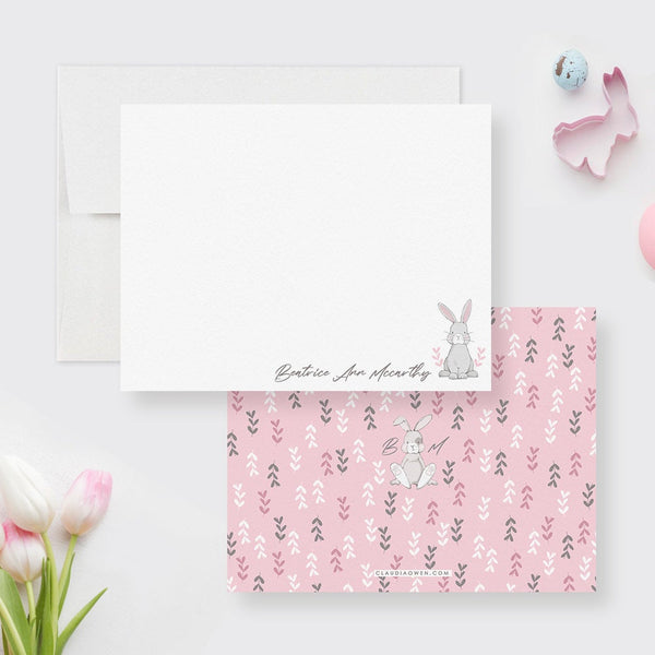 Personalized Bunny Note Card For Kids Girl Stationery, Easter Rabbit Cute Bunny Gifts, Bunny Thank You Note, Animal Rabbit Flat Note Card