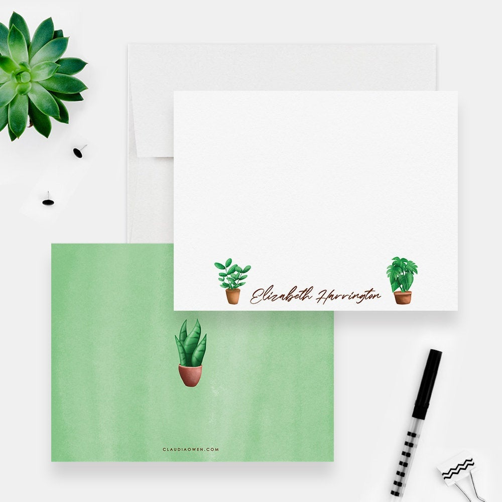 Plant Stationery Gift Botanical Plant Note Card Envelope Set Nature Greenery Custom Personal, Plant Lady Plant Lover Gift Plant Mom
