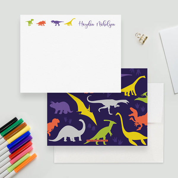 Dinosaur Note Card Children Stationery Custom Notecard, Dinosaur Party Thank You Kids Note Card, Dinosaur Gift Boys Dino Gift Stationery