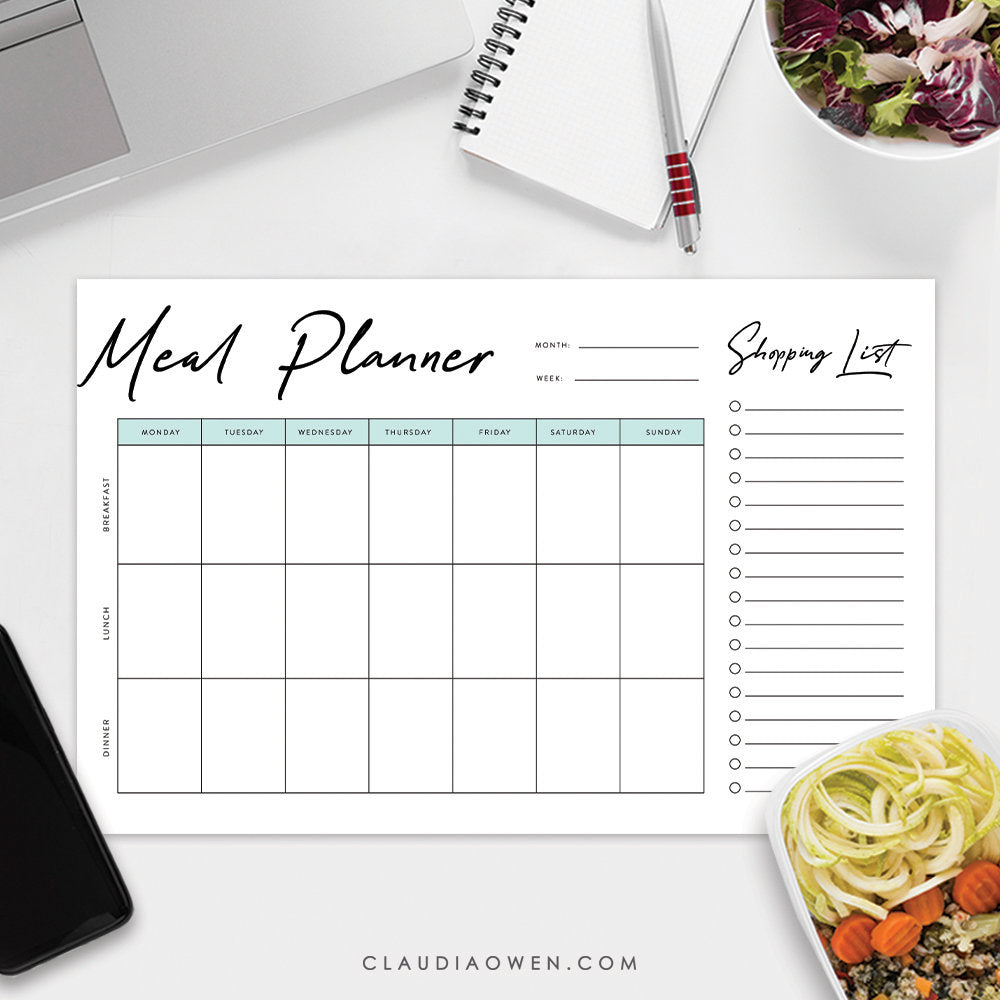 Weekly Meal Planner with Shopping List Notepad, Food List Plan Cooking Plan Personalized Grocery List, Breakfast Lunch Dinner