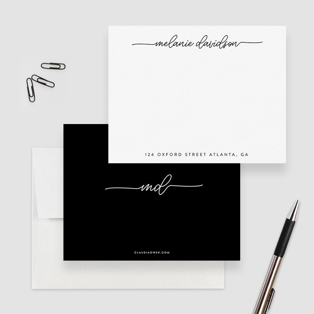 Personalized Minimalist Stationery for Women, Elegant Note Card Set For the Home Office Custom Business Stationary Simple Note Card