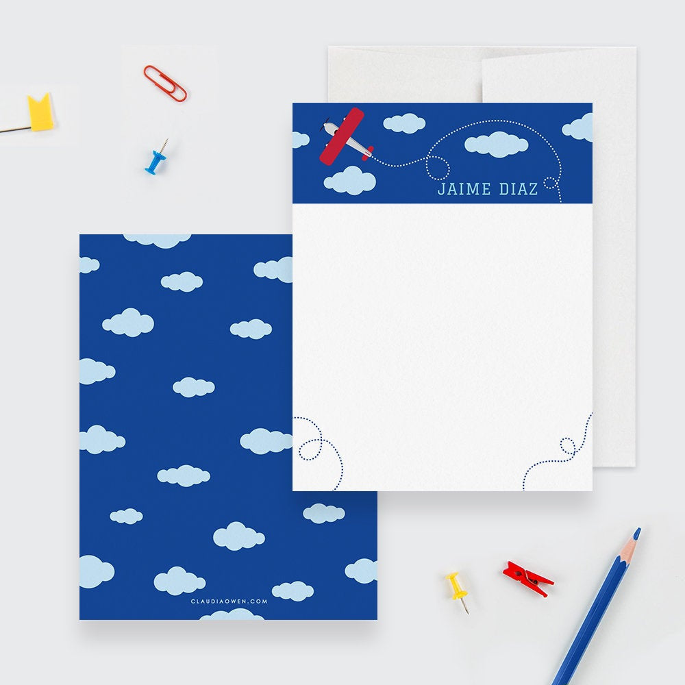 Airplane Boy's Stationery Set Personalized Kid's Note Card, Boy Stationary For Children Airplane Birthday Thank You Note