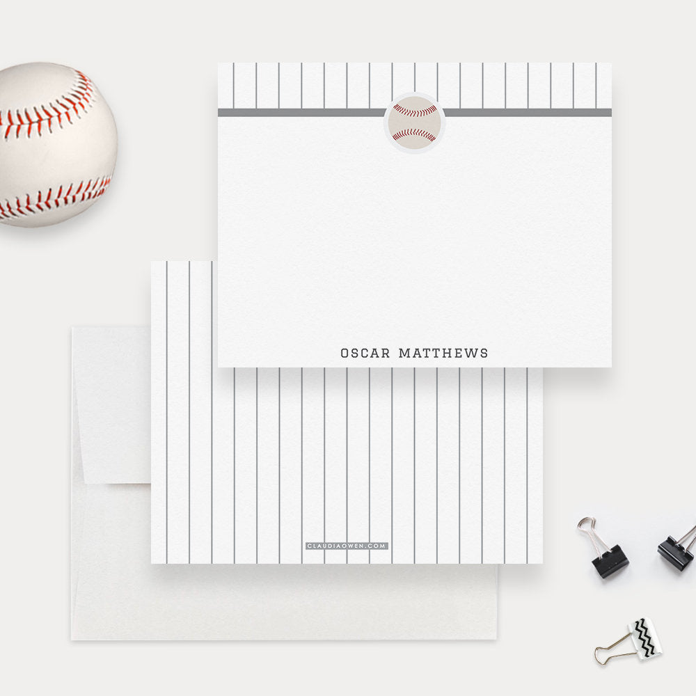 Baseball Note Cards Men's Stationery, Gift For Men Sport Personalized Note Card Set Baseball Player Set of Flat Note Card, Baseball Gift