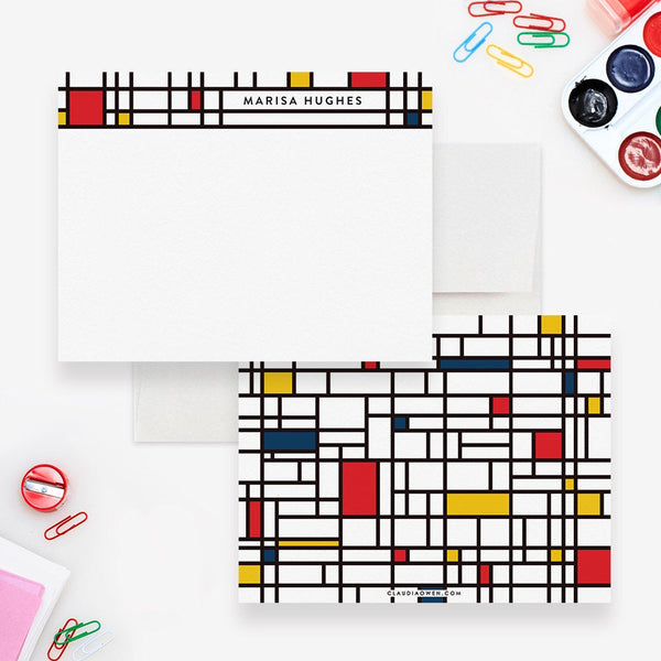 Mondrian Personalized Note Card Stationery, Geometric Unique Correspondence Note Cards, Custom Men's Office Stationery Cards With Envelopes