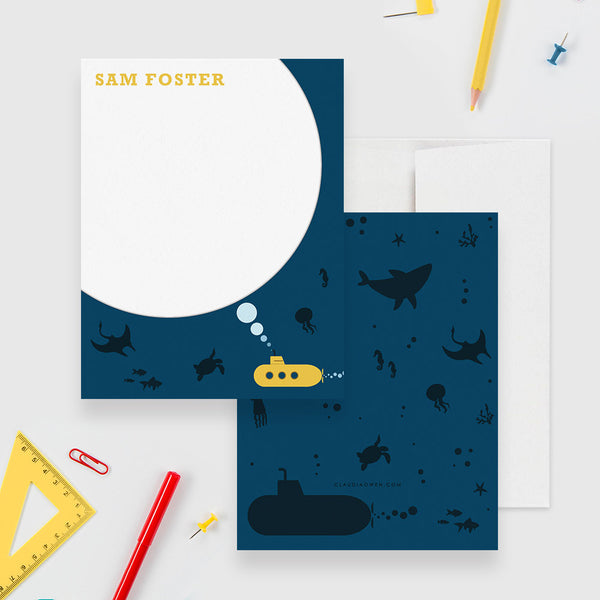 Submarine Boy's Stationery Set, Underwater Personalized Kid's Note Card, Shark Stationary Fish Thank You Note
