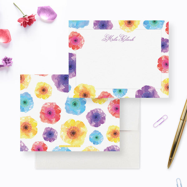 Note Cards for Women Floral Stationery Notecards, Personalized Note Card Set For Women, Unique Notecard Custom Stationery