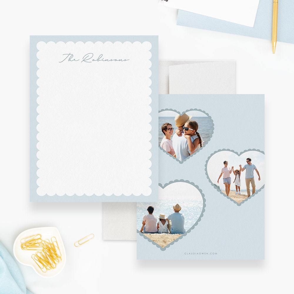 Family Stationery Cards and Envelopes, Custom Gift Stationary Set, Personalized Housewarming Flat Note Cards Gift Family Note Photo Card