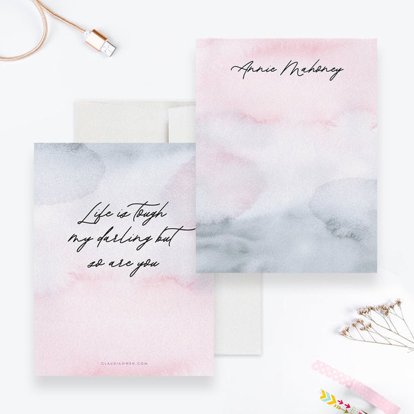 Women's Personalized Stationary With Inspirational Quote, Note Card Set For Teens, Watercolor Girl Stationery A Note From
