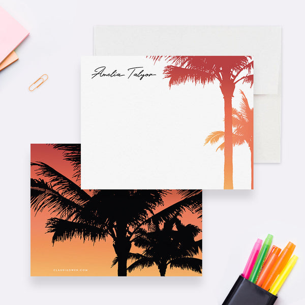 Palm Tree Note Card Set Tropical Personal Stationery, Nature Stationery Personalized Tropical Thank You Note, Womens Flat Note Card