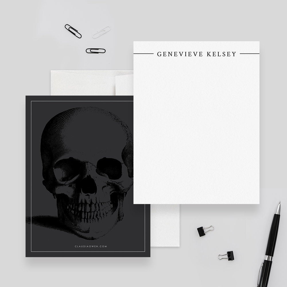 Skull Note Card Death Personalized Office Stationery, Custom Thank You Card Set, Halloween Note Card Goth Office Gift