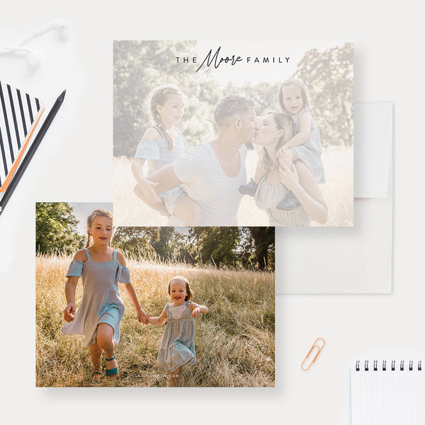 Personalized Family Stationery, Family Photo Note Cards Custom Gift Stationary Set, Gift for the Home, Home Office Stationery Flat Note Card