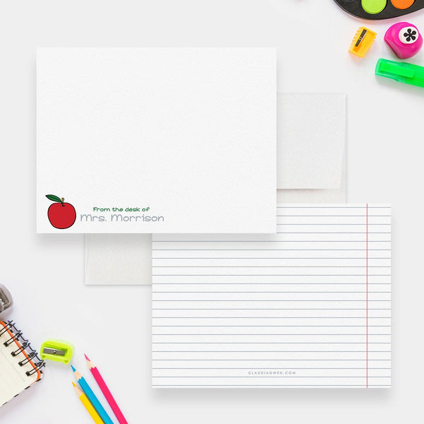 Apple Note Cards Personalized Teacher Notes, Custom Teacher Apple Gift Stationery Note Card, Thank You Teacher Appreciation