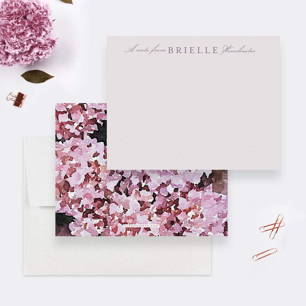 Personalized Note Card Set For Women, Hydrangea Floral Botanical Stationary Set, Unique Notecard Pink Flowers Gift for Her Custom Note Card
