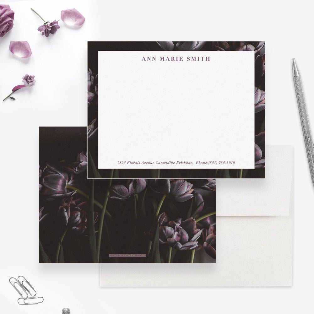 Custom Stationery Note Card, Women's Personalized Stationery Tulip Flowers Stationary, Dark Florals Personal Stationery set
