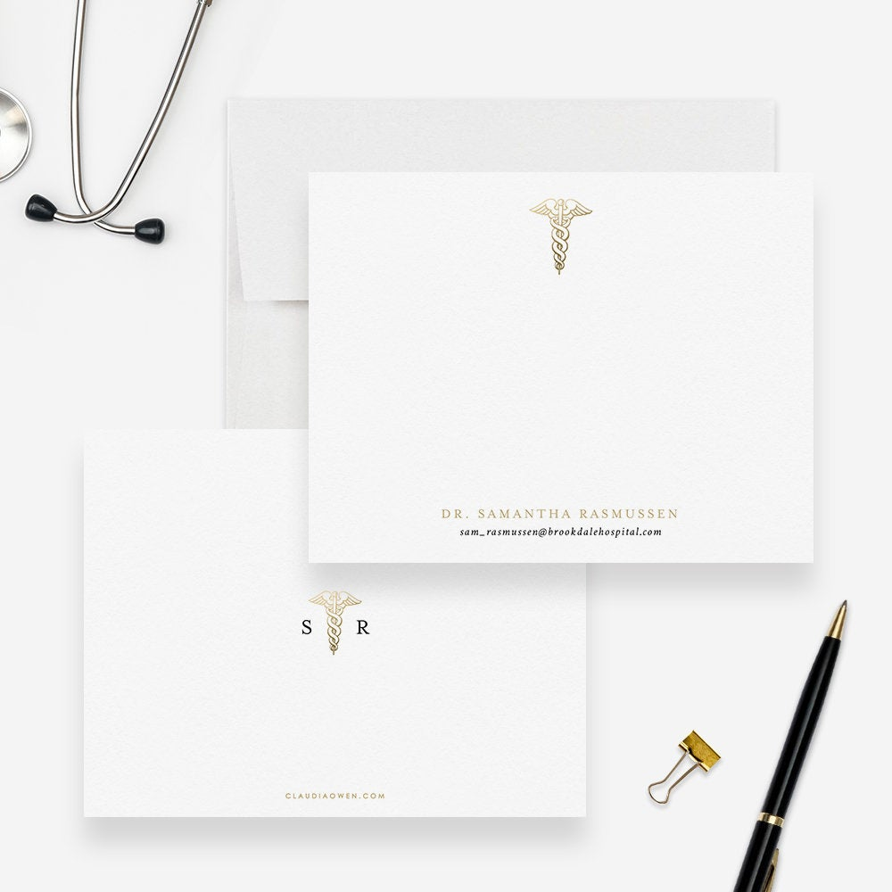 Doctor Stationery Set Caduceus Flat Note Cards Nurse Personalized Cards Medical Personalized Gift For Doctor Thank You Note Graduation Gifts