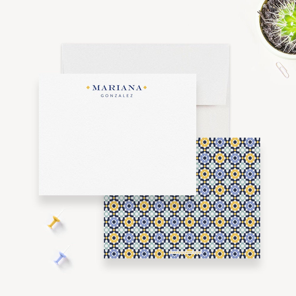 Personalized Womens Stationary, Custom Modern Note Cards Colorful Office Stationery Sets, Personal Stationary Flat Note Cards For Women