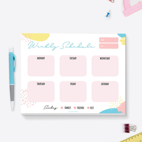 Weekly Kids Notepad Children's Personalized Desk Notepad, School Student Planner, To Do List Homeschool Planner, Weekly Organizer