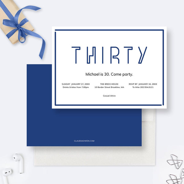 30th Invitation Edit Yourself Template, Simple and Masculine Thirtieth Invites Digital Download, Thirty Birthday Party For Men