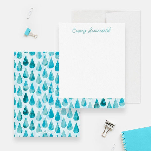 Baby Shower Thank You Note Card, Blue Drops Note Card Set Custom Stationary Personalized Stationery for Women, Baby Shower Notes