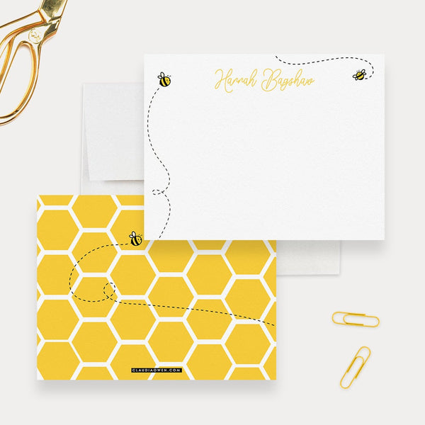 Bee Stationery Set Bumble Bee Hive Note Card, Cute Personalized Kids Stationary, Bees Birthday Thank You Notes Gift For Children