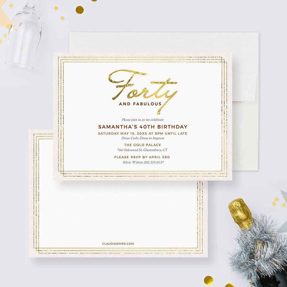 40th Birthday Party Invitation Edit Yourself Template, 40 and Fabulous Printable Digital Download, Fortieth Forty Invitation