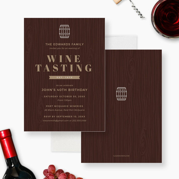 Wine Tasting Party Invitation Edit Yourself Template, Wine Party Printable Digital Instant Download, Wine Barrel Wine Birthday For Men