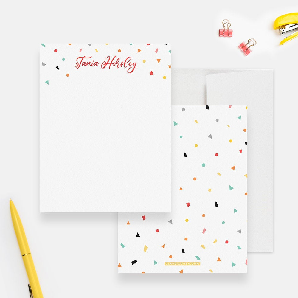 Confetti Stationery Set Birthday Thank You Note Card, Coloful Personalized Kid's Note Card Fun Children's Stationary