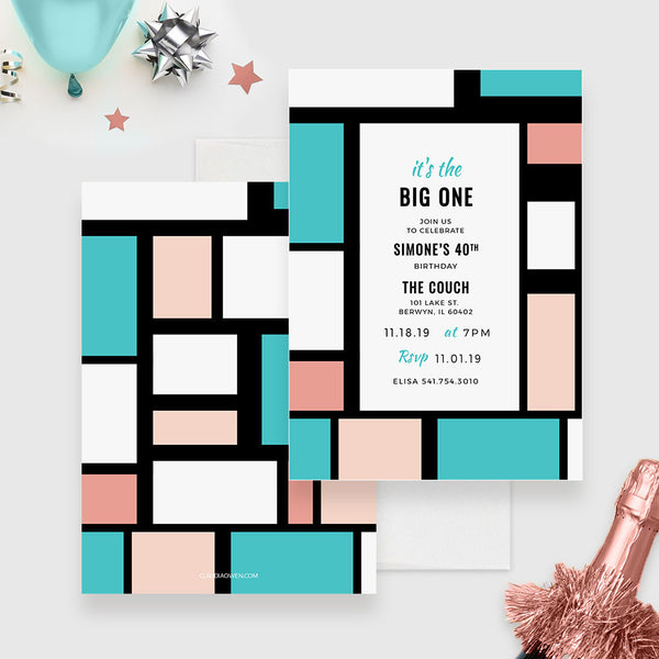 It's the Big One Edit Yourself Template, 30th 40th 50th 60th 70th Birthday Printable Digital Download, Modern Geometric Pattern