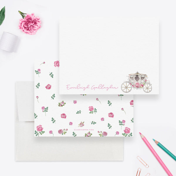 Princess Carriage Girl Stationary, Carriage Note Card Princess Thank You Flat Note Card, Pink Rose Floral Stationery Horse and Carriage