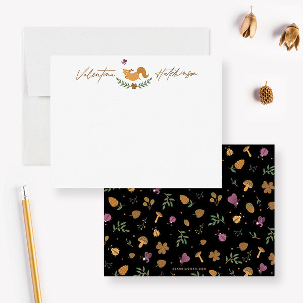 Woodland Squirrel Note Card Animal Stationery Gift, Custom Squirrel Fall Notecard Envelope Set, Animal Squirrel Birthday Thank You Cards